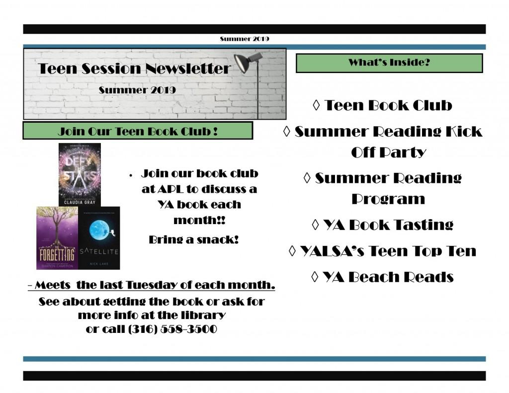 Summer 2019 Teen Newsletter