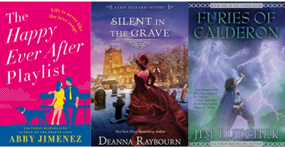 cover images of The Happy Ever After Playlist by Abby Jimenez, the Lady Julia Grey series by Deanna Raybourn, The Codex Alera series by Jim Butcher