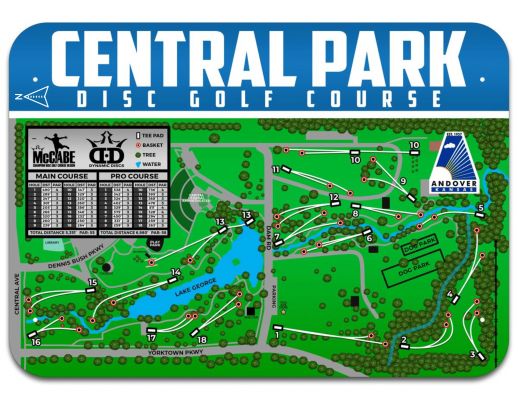 Map of Andover's Central Park disc golf course